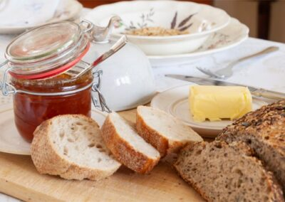 Homemade breads and marmalade